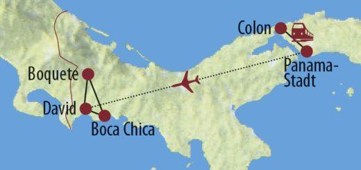 Karte Reise Panama Tropisches Naturparadies 2020