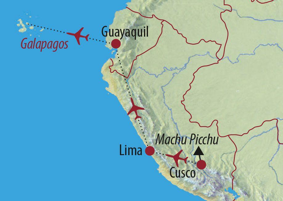 Karte Reise Peru • Galapagos Vom Reich der Inka ins Reich der Riesenschildkröten 2020