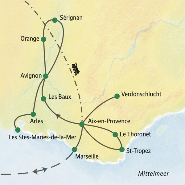 Fünf Übernachtungen in Aix-en-Provence und drei in Avignon; nur ein Hotelwechsel