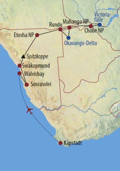 Südafrika • Namibia • Botswana • Simbabwe Vom Sambesi bis zum Kap Beispiel für das Reisefahrzeug: Toyota Land Cruiser (10 Sitzer) oder Kleinbus Karte