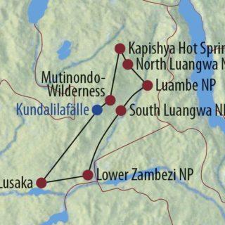Karte Reise Sambia Raue Pisten, sanfte Pfoten 2020
