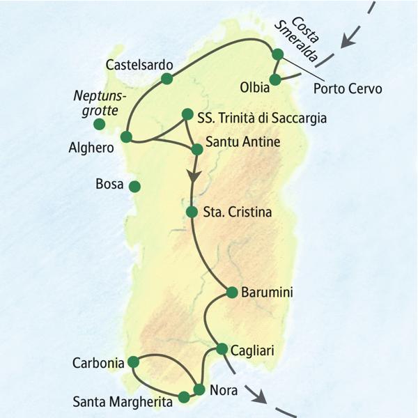 Geruhsame Studienreise nach Sardinien mit wenigen Hotelwechseln