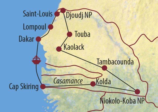 Senegal Grand Tour Senegal Unterwegs im Land Karte