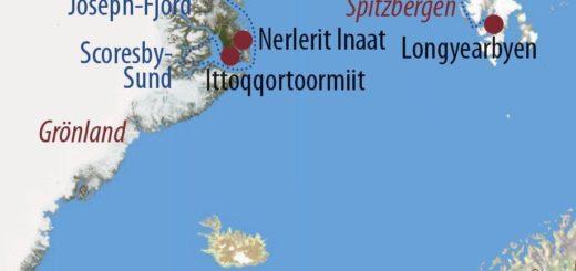 Karte Reise Spitzbergen • Grönland Gletscher, Herbstlaub und Nordlichter 2020
