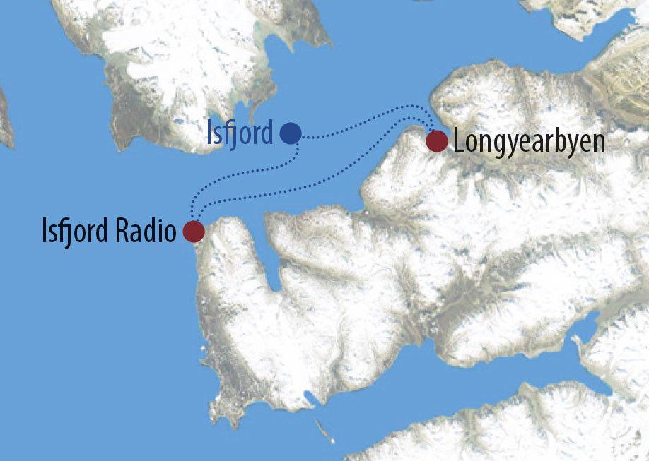 Karte Reise Spitzbergen Mit Huskys nach Isfjord Radio 2020