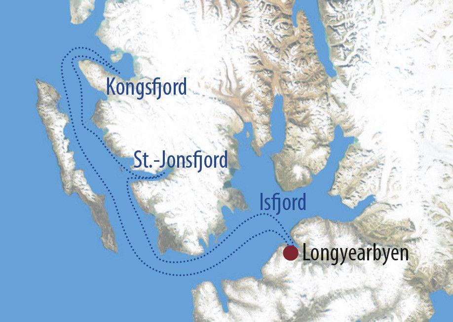 Karte Reise Spitzbergen Ski & Sail – Alpine Gipfel in Westspitzbergen 2020