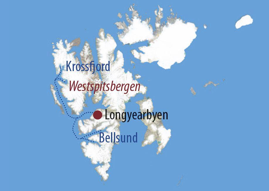 Karte Reise Spitzbergen Svalbard hautnah und intensiv 2020