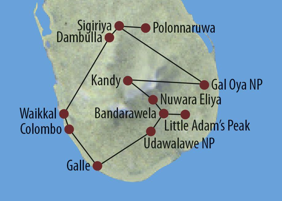 Karte Reise Sri Lanka Zum Kennenlernen 2020