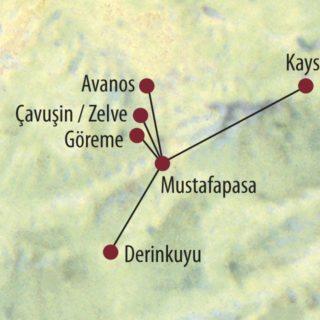 Karte Reise Türkei Feenkamine, unterirdische Städte und Höhlenkirchen 2020