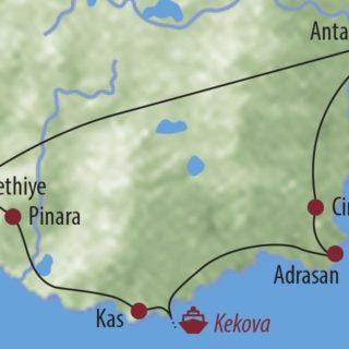 Karte Reise Türkei Versunkene Städte und versteckte Buchten 2020