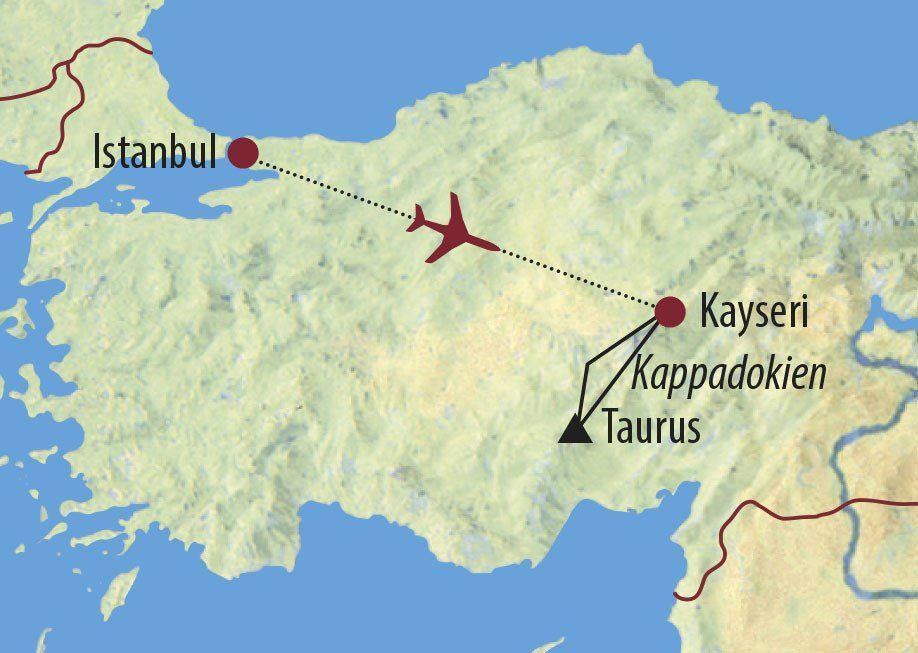 Karte Reise Türkei Von Kappadokien ins Aladaglar-Gebirge 2020