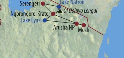 Karte Reise Tansania Wandern auf dem Massai Trail und Safari 2020