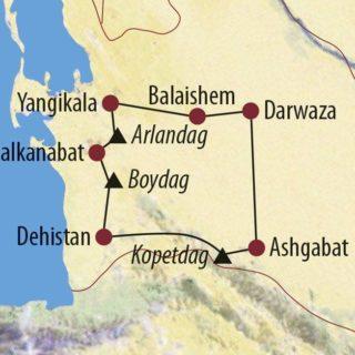"""Karte Reise Turkmenistan Vom Gesundheitspfad zur """"Höllenpforte"""" 2020"""