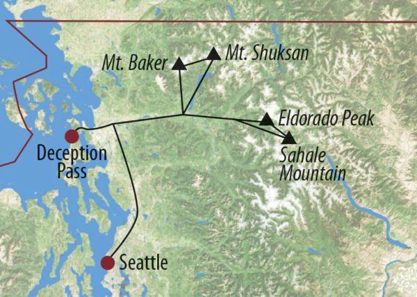 USA │ Nordwesten Eldorado Peak (2703m), Mt. Shuksan (2778m) und Mt. Baker (3282m) – Pilotreise Aufstieg am Mount Baker Karte