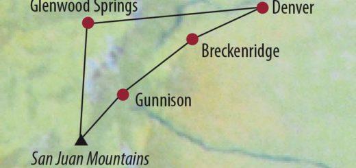 Karte Reise USA | Rocky Mountains Geisterstädte, Gebirgspässe und heiße Quellen 2020