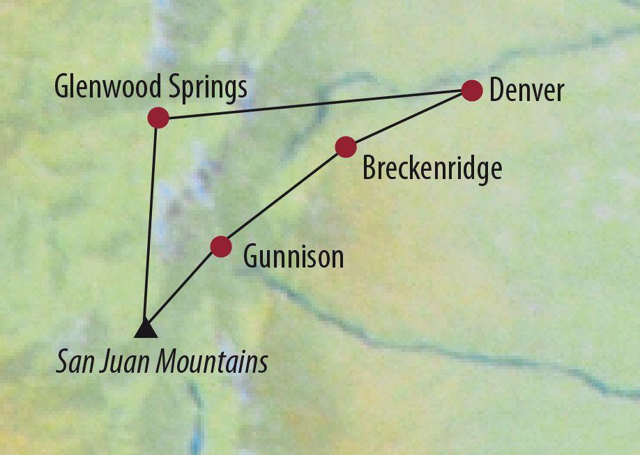 Karte Reise USA   Rocky Mountains Geisterstädte, Gebirgspässe und heiße Quellen 2020
