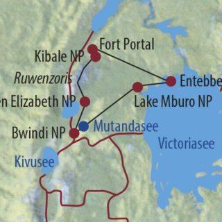 Karte Reise Uganda Aktiv im Land der Silberrücken 2020