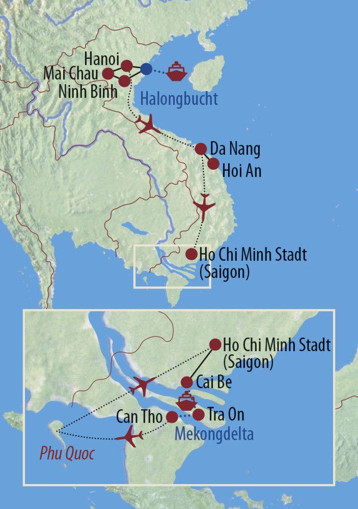 Karte Reise Vietnam Dem Zauber auf der Spur 2020