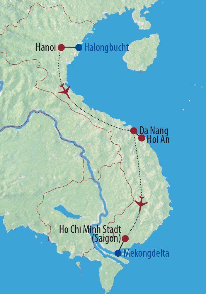 Karte Reise Vietnam Im Land des aufsteigenden Drachen 2020