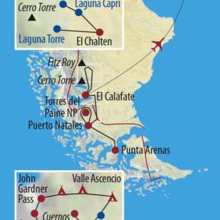 Karte Reise Chile • Argentinien | Patagonien Fels und Eis – Wasser und Wind 2020