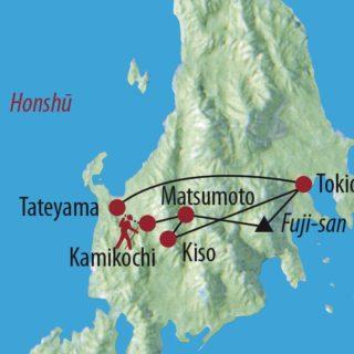 Karte Reise Japan Japanische Alpenüberquerung 2020