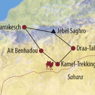 Karte Reise Marokko Abenteuer zwischen Felsschluchten und Dünenmeer 2020