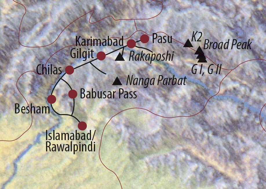 Karte Reise Pakistan Von der Märchenwiese ins Hunzaland 2020