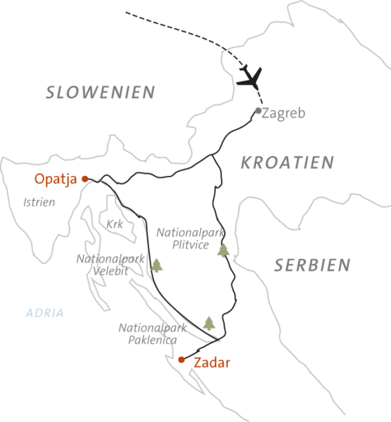 Landkarte zu Kroatien - Wanderrundreise durch Mittelkroatien