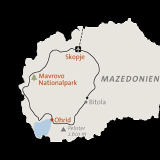 Landkarte zu Nordmazedonien: Wandern zwischen Gebirgen & Seen
