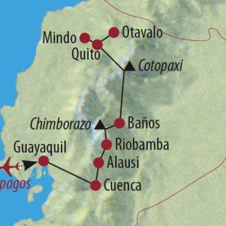 Karte Reise Ecuador • Galapagos Höhepunkte Ecuadors und Galapagos-Kreuzfahrt 2020
