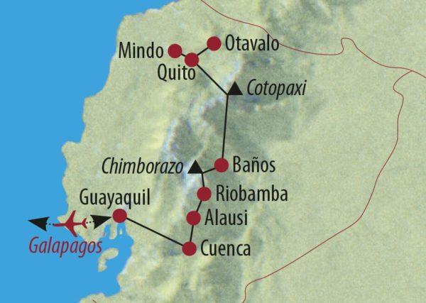 Ecuador • Galapagos Höhepunkte Ecuadors und Galapagos-Kreuzfahrt Markt in Otavalo Karte