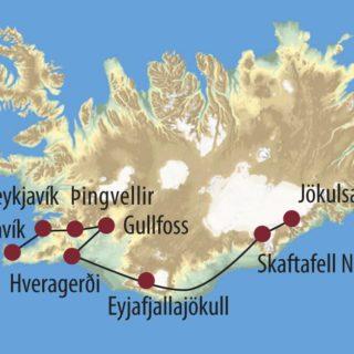 Karte Reise Island Feuer, Erde, Eis und Wasser 2020