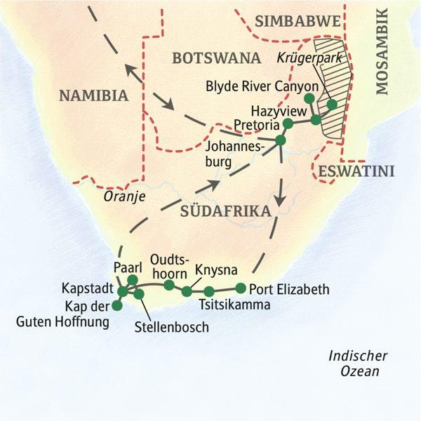 Südafrika gefuehrte Rundreisen 2019