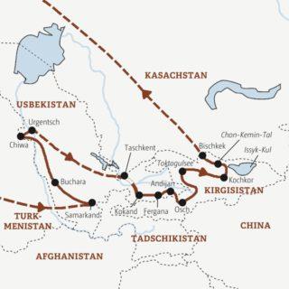 16-tägige Rundreise zu den kulturellen und landschaftlichen Höhepunkten Usbekistans und Kirgisistans