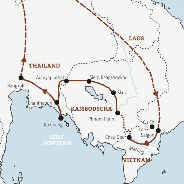 Vom Mekong zum Golf von Siam Rundreisen 2016 / 2017