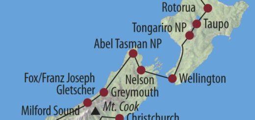 Karte Reise Neuseeland Natur hautnah erleben 2021/2022 2020