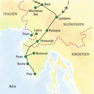 Geruhsamer Reiseverlauf mit den Höhepunkten Sloweniens und der kroatischen Halbinsel Istrien