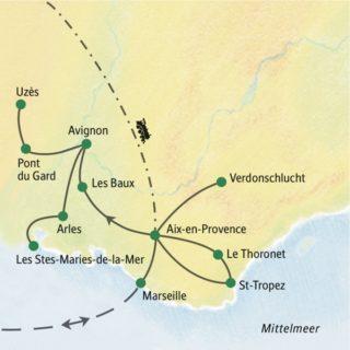 Fünf Übernachtungen in Aix-en-Provence und vier in Avignon; nur ein Hotelwechsel