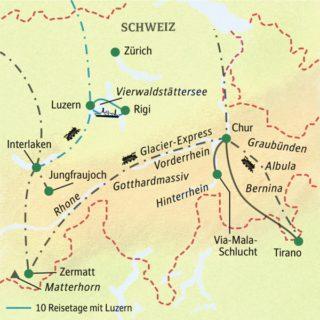 Die Schweizer Bergwelt mit der Bahn erleben