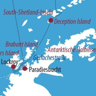 Karte Reise Antarktis Antarktis & Deception Island 2021