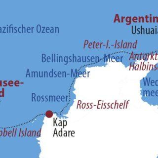 Karte Reise Antarktis Antarktis-Halbumrundung – Auf den Spuren von Amundsen und Scott 2021