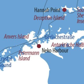 Karte Reise Antarktis Sehnsuchtsziel Polarkreis 2021
