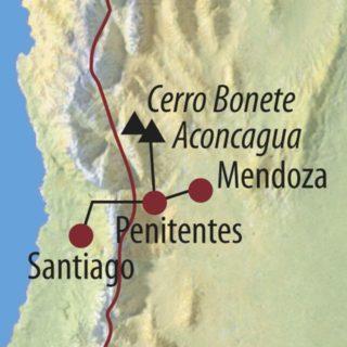 Karte Reise Argentinien • Chile Aconcagua (6962m) – Der höchste Berg Amerikas 2021