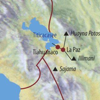 Karte Reise Bolivien | Cordillera Real Huayna Potosi (6088m) und Illimani (6439m) 2021
