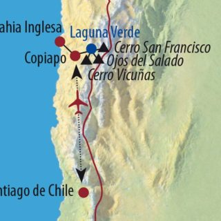 Karte Reise Chile Ojos del Salado (6893m) – Der höchste Vulkan der Erde 2021