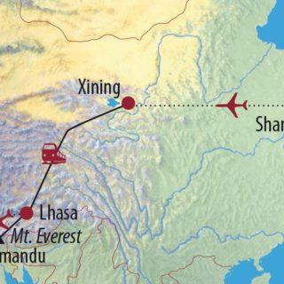 Karte Reise China • Tibet • Nepal Von Shanghai über Lhasa nach Kathmandu 2021