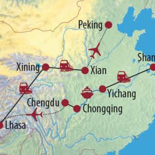 Karte Reise China • Tibet Fernöstliche Vielfalt 2021