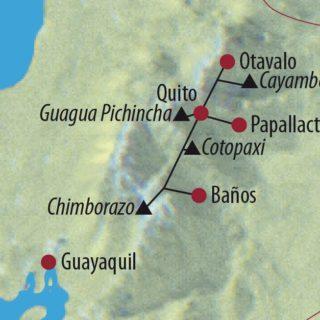 Karte Reise Ecuador Cayambe (5790m), Cotopaxi (5897m) und Chimborazo (6310m) 2021