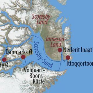 Karte Reise Grönland Mit dem Segelschiff in den Scoresby-Sund 2021