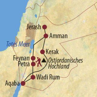 Karte Reise Jordanien Auf den Spuren der Nabatäer 2021